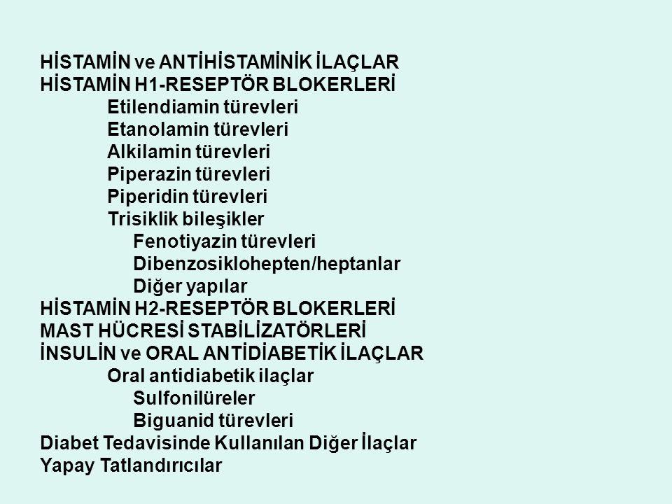HİSTAMİN ve ANTİHİSTAMİNİK İLAÇLAR HİSTAMİN H1-RESEPTÖR BLOKERLERİ Etilendiamin türevleri Etanolamin türevleri Alkilamin türevleri Piperazin türevleri