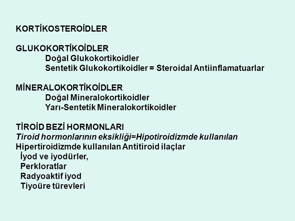 KORTİKOSTEROİDLER GLUKOKORTİKOİDLER Doğal Glukokortikoidler Sentetik Glukokortikoidler = Steroidal Antiinflamatuarlar MİNERALOKORTİKOİDLER Doğal Miner