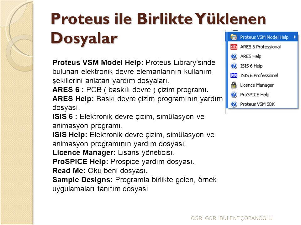 ÖĞR. GÖR. BÜLENT ÇOBANOĞLU Proteus ile Birlikte Yüklenen Dosyalar Proteus VSM Model Help: Proteus Library'sinde bulunan elektronik devre elemanlarının