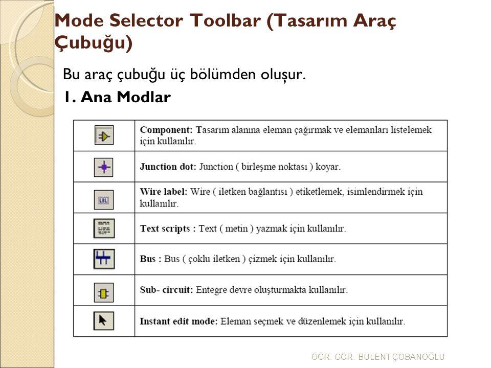 Mode Selector Toolbar (Tasarım Araç Çubu ğ u) Bu araç çubu ğ u üç bölümden oluşur. 1. Ana Modlar ÖĞR. GÖR. BÜLENT ÇOBANOĞLU