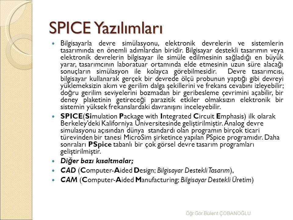 SPICE Yazılımları Bilgisayarla devre simülasyonu, elektronik devrelerin ve sistemlerin tasarımında en önemli adımlardan biridir. Bilgisayar destekli t