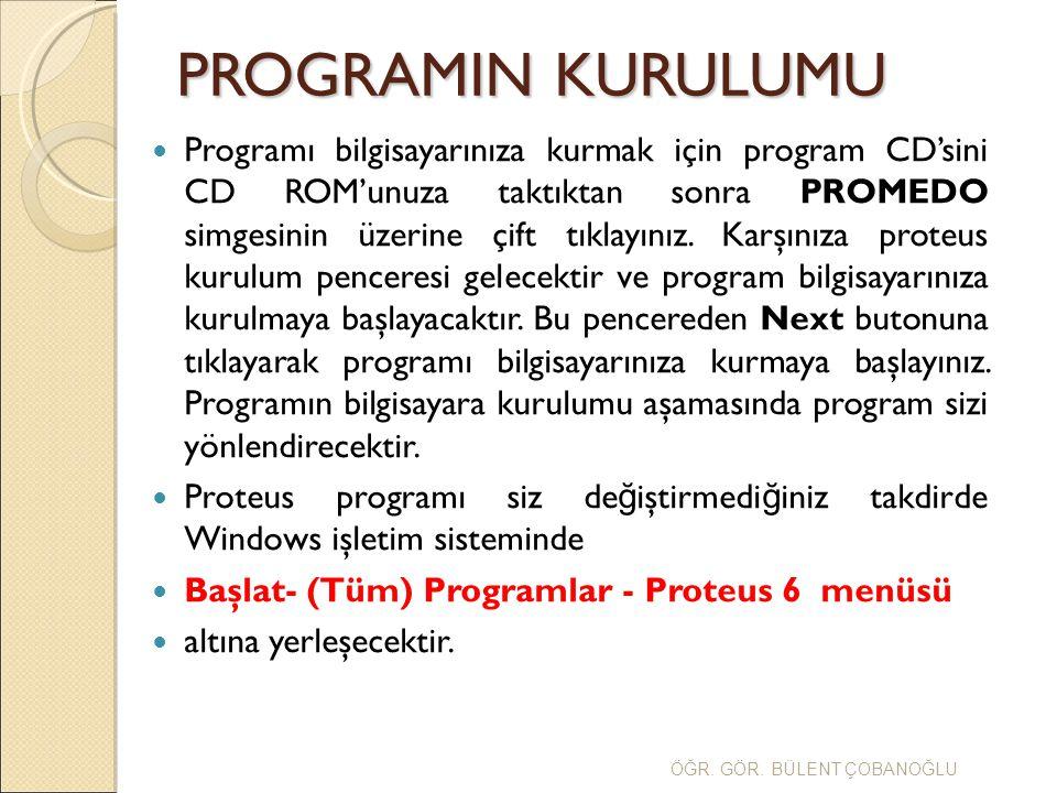 Programı bilgisayarınıza kurmak için program CD'sini CD ROM'unuza taktıktan sonra PROMEDO simgesinin üzerine çift tıklayınız. Karşınıza proteus kurulu