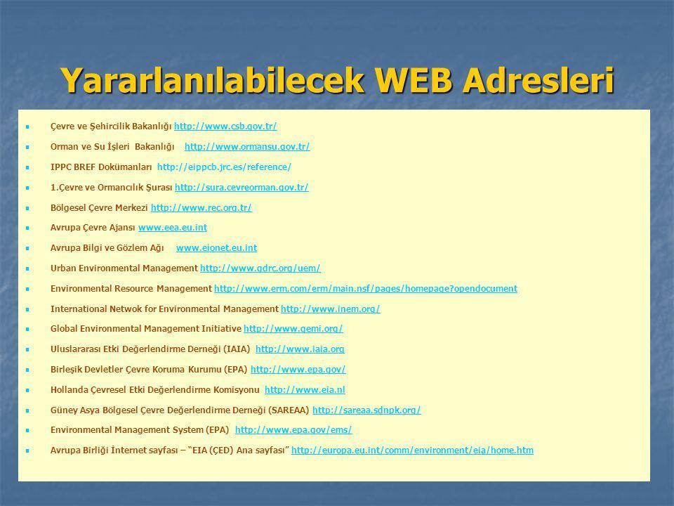 Yararlanılabilecek WEB Adresleri Çevre ve Şehircilik Bakanlığı http://www.csb.gov.tr/http://www.csb.gov.tr/ Orman ve Su İşleri Bakanlığı http://www.or