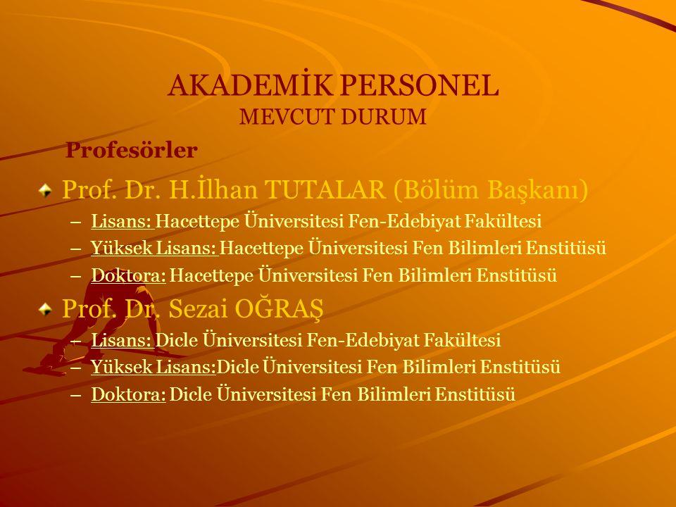 AKADEMİK PERSONEL MEVCUT DURUM Profesörler Prof. Dr. H.İlhan TUTALAR (Bölüm Başkanı) – –Lisans: Hacettepe Üniversitesi Fen-Edebiyat Fakültesi – –Yükse