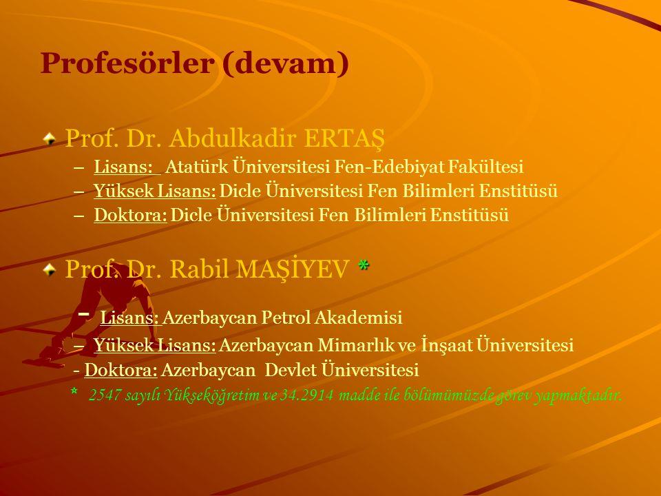Profesörler (devam) Prof. Dr. Abdulkadir ERTAŞ – –Lisans: Atatürk Üniversitesi Fen-Edebiyat Fakültesi – –Yüksek Lisans: Dicle Üniversitesi Fen Bilimle