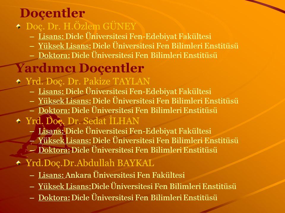 Doçentler Doç. Dr. H.Özlem GÜNEY – –Lisans: Dicle Üniversitesi Fen-Edebiyat Fakültesi – –Yüksek Lisans: Dicle Üniversitesi Fen Bilimleri Enstitüsü – –