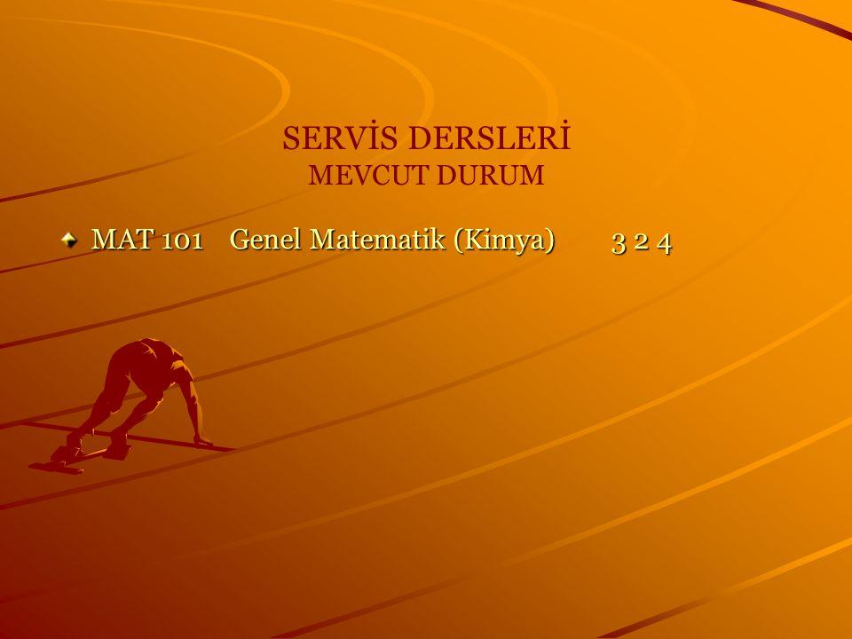 SERVİS DERSLERİ MEVCUT DURUM MAT 101 Genel Matematik (Kimya) 3 2 4