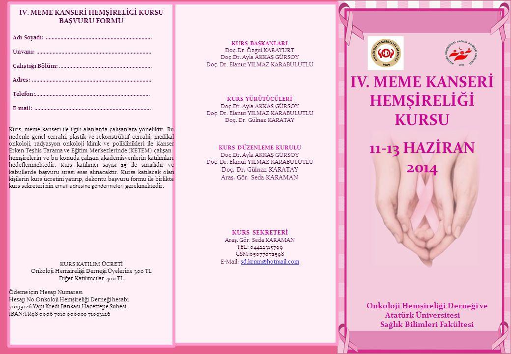IV. MEME KANSERİ HEMŞİRELİĞİ KURSU 11-13 HAZİRAN 2014 Onkoloji Hemşireliği Derneği ve Atatürk Üniversitesi Sağlık Bilimleri Fakültesi KURS BAŞKANLARI