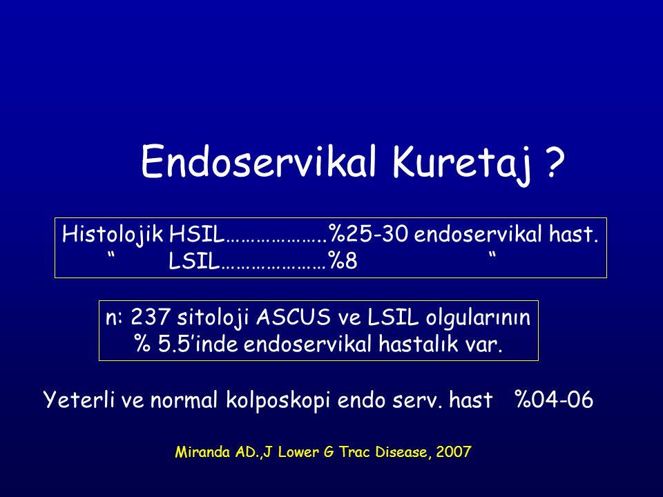 "Endoservikal Kuretaj ? Histolojik HSIL………………..%25-30 endoservikal hast. "" LSIL…………………%8 "" Yeterli ve normal kolposkopi endo serv. hast %04-06 n: 237 s"