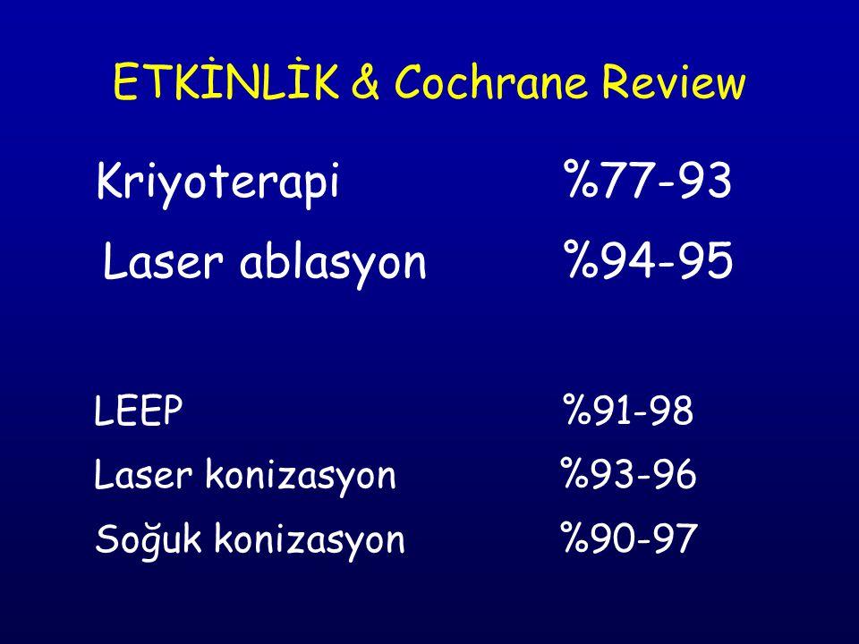 ETKİNLİK & Cochrane Review Kriyoterapi%77-93 Laser ablasyon%94-95 LEEP%91-98 Laser konizasyon %93-96 Soğuk konizasyon %90-97