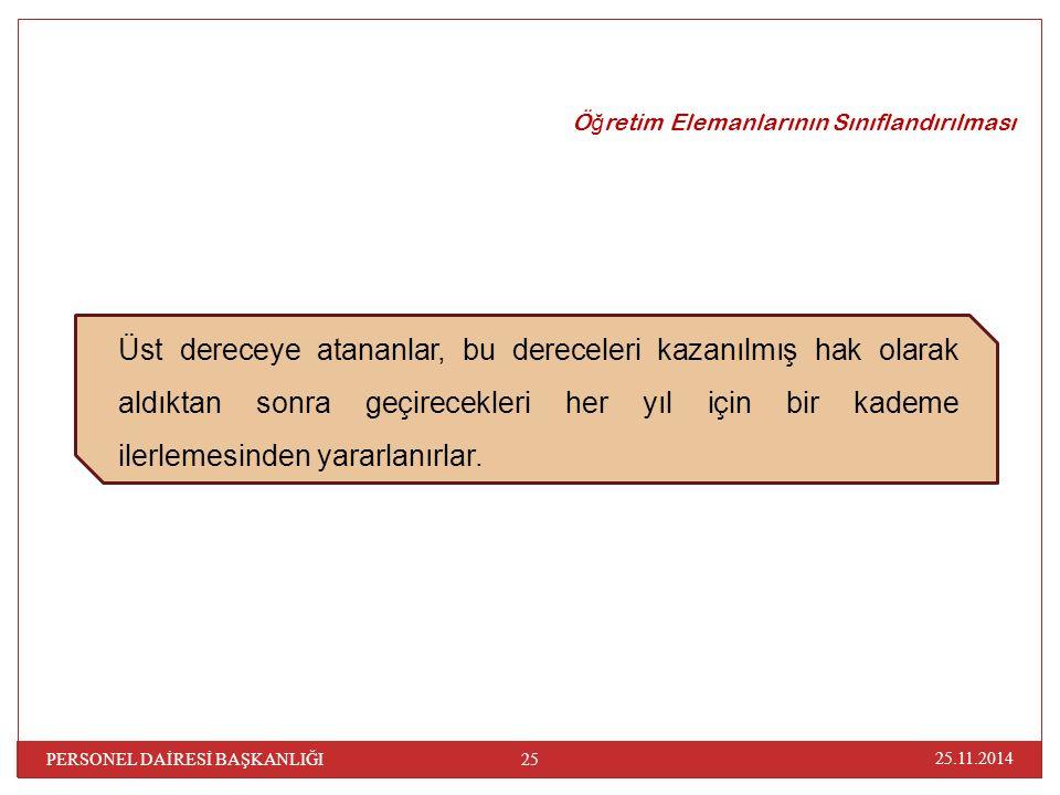 25.11.2014 PERSONEL DAİRESİ BAŞKANLIĞI 25 Ö ğ retim Elemanlarının Sınıflandırılması Üst dereceye atananlar, bu dereceleri kazanılmış hak olarak aldıkt
