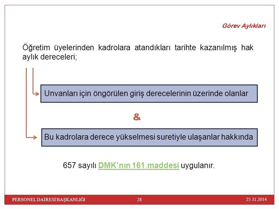 Görev Aylıkları Öğretim üyelerinden kadrolara atandıkları tarihte kazanılmış hak aylık dereceleri; & 657 sayılı DMK'nın 161.maddesi uygulanır. Unvanla