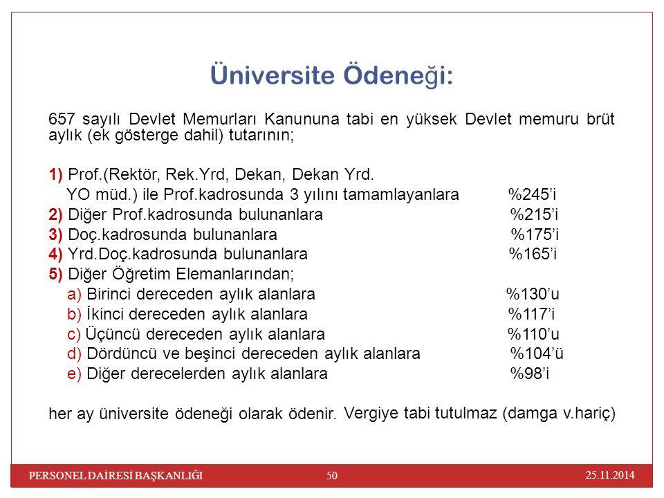 Üniversite Ödene ğ i: 657 sayılı Devlet Memurları Kanununa tabi en yüksek Devlet memuru brüt aylık (ek gösterge dahil) tutarının; 1) Prof.(Rektör, Rek