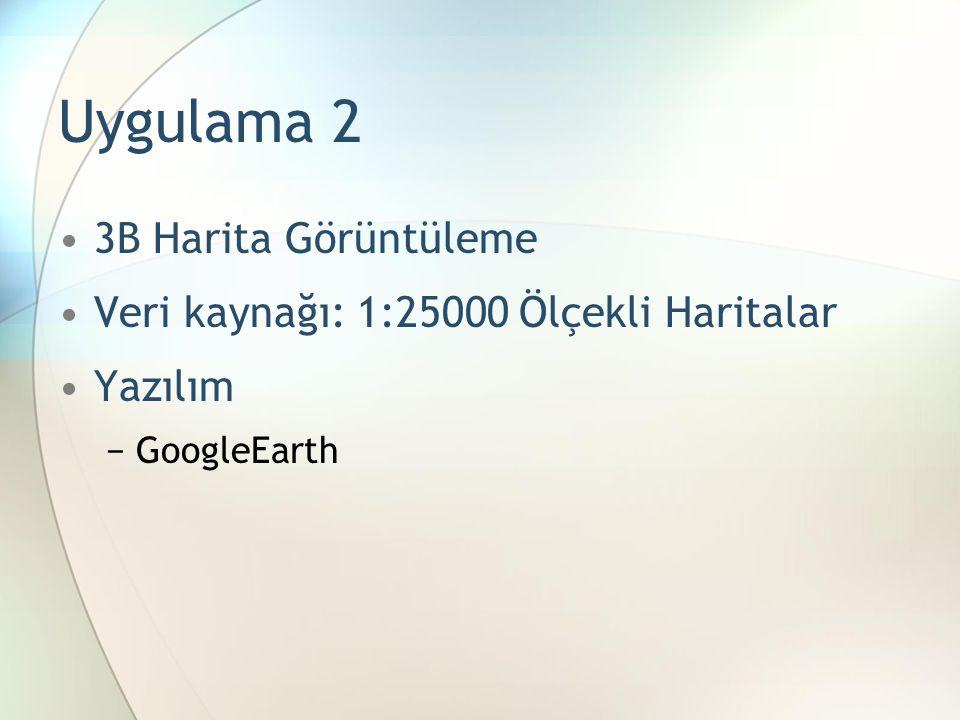 Uygulama 2 3B Harita Görüntüleme Veri kaynağı: 1:25000 Ölçekli Haritalar Yazılım −GoogleEarth