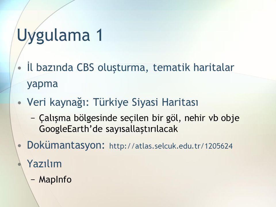 Uygulama 1 İl bazında CBS oluşturma, tematik haritalar yapma Veri kaynağı: Türkiye Siyasi Haritası −Çalışma bölgesinde seçilen bir göl, nehir vb obje