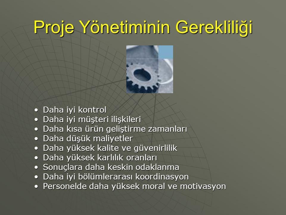 Proje Yönetiminde Gerekli Adımlar Projenin formel bir tanımı yapılır.