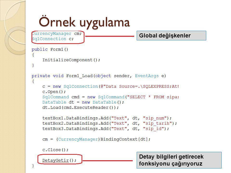 Örnek uygulama Global değişkenler Detay bilgileri getirecek fonksiyonu çağırıyoruz