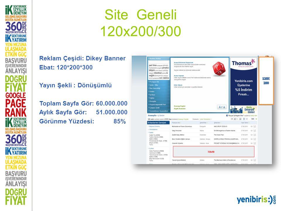 Site Geneli 120x200/300 Reklam Çeşidi: Dikey Banner Ebat: 120*200*300 Yayın Şekli : Dönüşümlü Toplam Sayfa Gör: 60.000.000 Aylık Sayfa Gör: 51.000.000