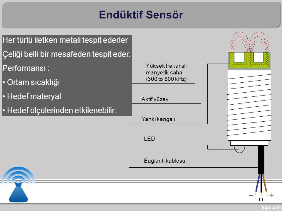 Bağlantı kablosu LED Yankı kangalı Aktif yüzey Yüksek frekanslı manyetik saha (300 to 800 kHz) Endüktif Sensör Her türlü iletken metali tespit ederler