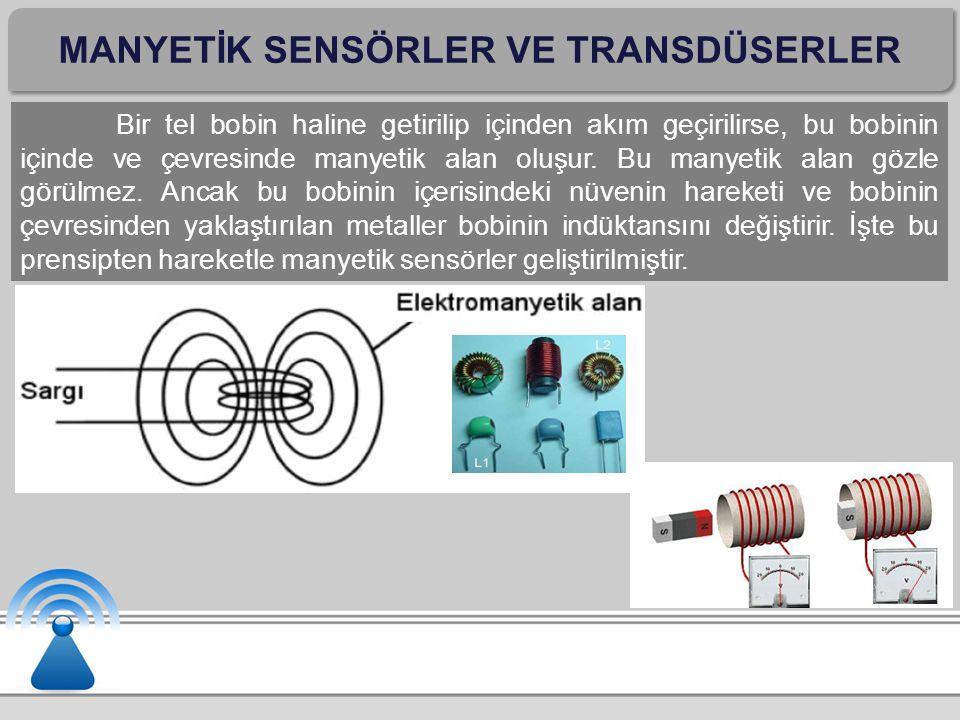 MANYETİK SENSÖRLER VE TRANSDÜSERLER Manyetik sensör ve transdüserler, günlük hayatta daha çok güvenlik gerektiren yerlerde metallerin (silah, bıçak gibi) aranmasında, hazine arama dedektörlerinde kullanılır.