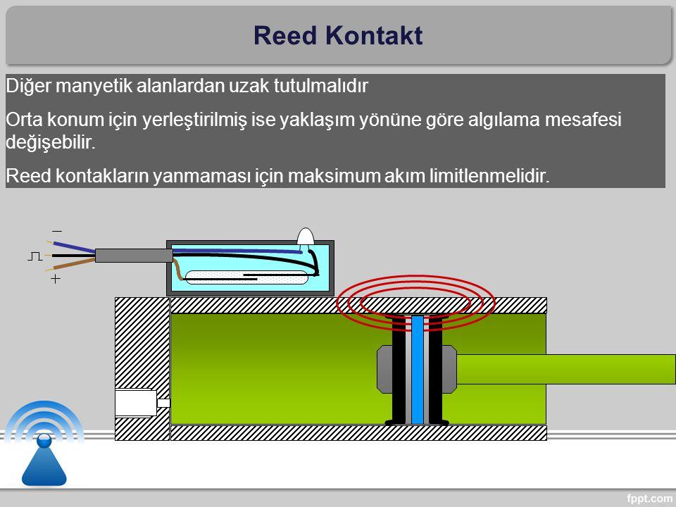 Diğer manyetik alanlardan uzak tutulmalıdır Orta konum için yerleştirilmiş ise yaklaşım yönüne göre algılama mesafesi değişebilir. Reed kontakların ya