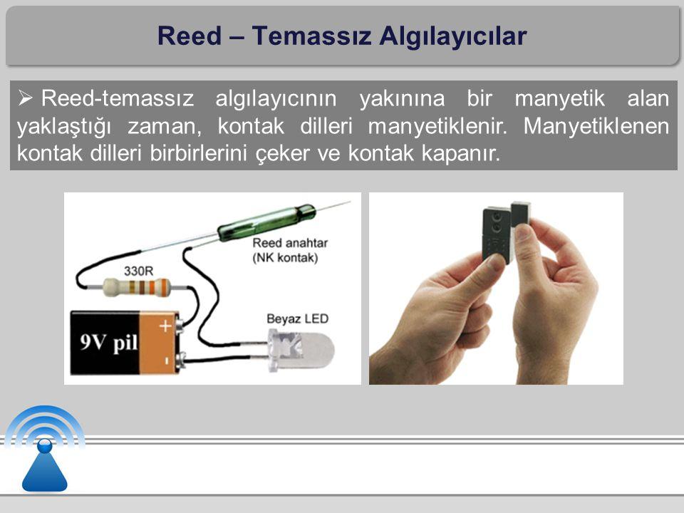 Reed – Temassız Algılayıcılar  Reed-temassız algılayıcının yakınına bir manyetik alan yaklaştığı zaman, kontak dilleri manyetiklenir. Manyetiklenen k