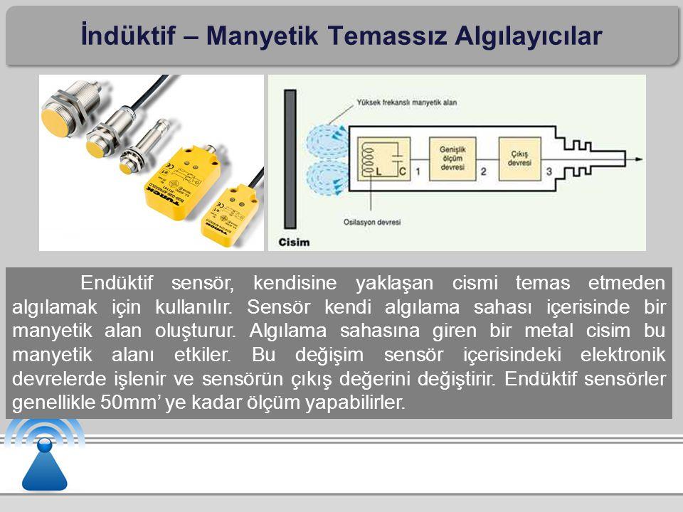 İndüktif – Manyetik Temassız Algılayıcılar Endüktif sensör, kendisine yaklaşan cismi temas etmeden algılamak için kullanılır. Sensör kendi algılama sa
