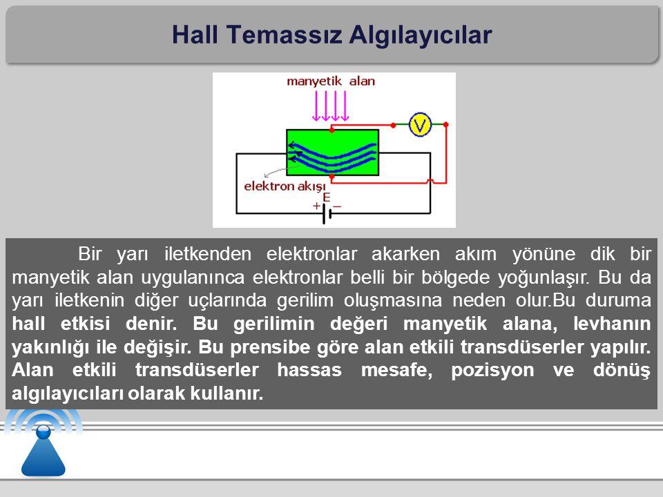 Hall Temassız Algılayıcılar Bir yarı iletkenden elektronlar akarken akım yönüne dik bir manyetik alan uygulanınca elektronlar belli bir bölgede yoğunl