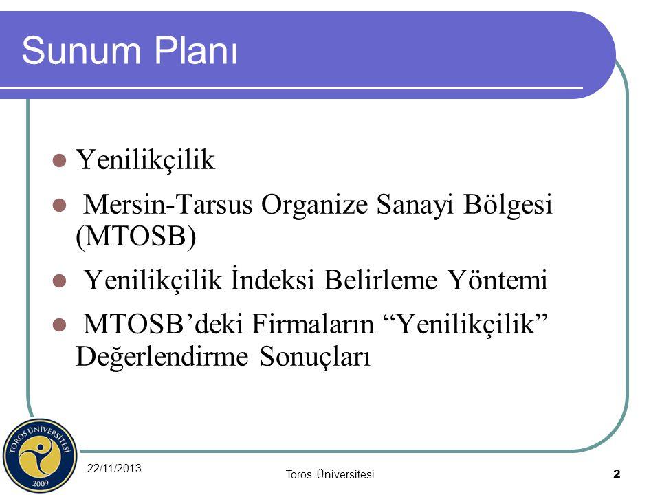 22/11/2013 Toros Üniversitesi 2 Sunum Planı Yenilikçilik Mersin-Tarsus Organize Sanayi Bölgesi (MTOSB) Yenilikçilik İndeksi Belirleme Yöntemi MTOSB'de