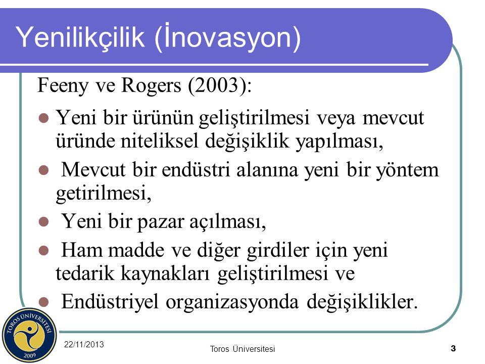 22/11/2013 Toros Üniversitesi 3 Yenilikçilik (İnovasyon) Feeny ve Rogers (2003): Yeni bir ürünün geliştirilmesi veya mevcut üründe niteliksel değişikl