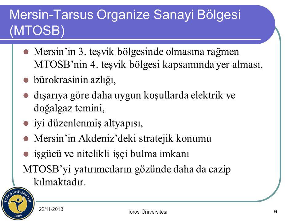 22/11/2013 Toros Üniversitesi 6 Mersin-Tarsus Organize Sanayi Bölgesi (MTOSB) Mersin'in 3. teşvik bölgesinde olmasına rağmen MTOSB'nin 4. teşvik bölge