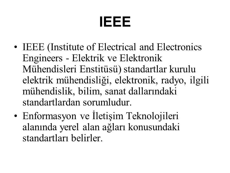 IEEE IEEE (Institute of Electrical and Electronics Engineers - Elektrik ve Elektronik Mühendisleri Enstitüsü) standartlar kurulu elektrik mühendisliği, elektronik, radyo, ilgili mühendislik, bilim, sanat dallarındaki standartlardan sorumludur.