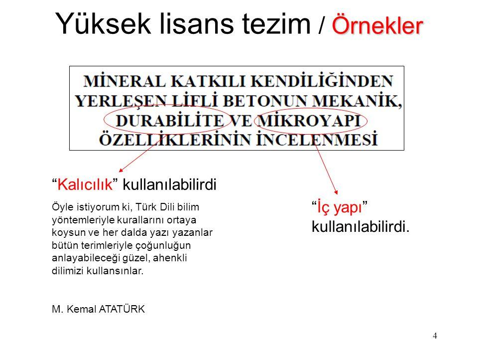 """4 Örnekler Yüksek lisans tezim / Örnekler """"Kalıcılık"""" kullanılabilirdi Öyle istiyorum ki, Türk Dili bilim yöntemleriyle kurallarını ortaya koysun ve h"""