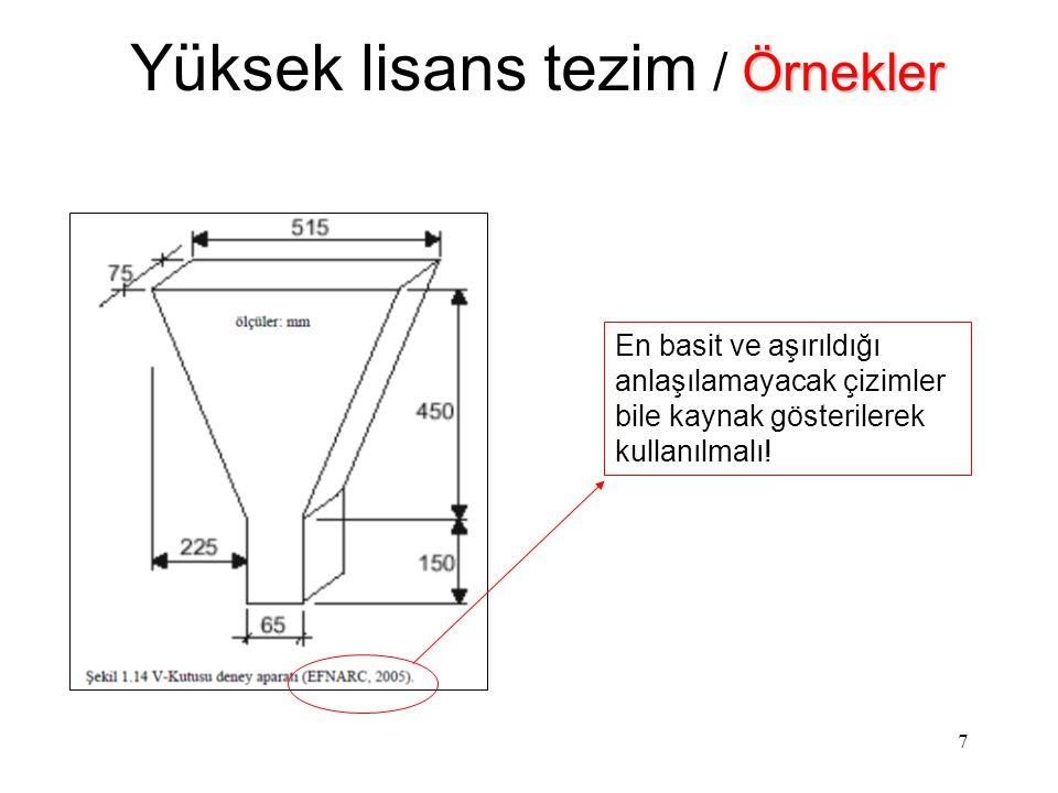 8 Örnekler Yüksek lisans tezim / Örnekler Anlatılmaya çalışılanları özetleyen şemacıklar kullanılmalı.