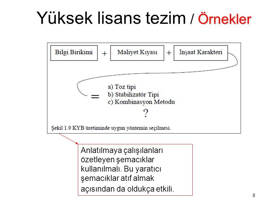9 Örnekler Yüksek lisans tezim / Örnekler Fikren bir etkilenme olsa dahi belirtilmeli.