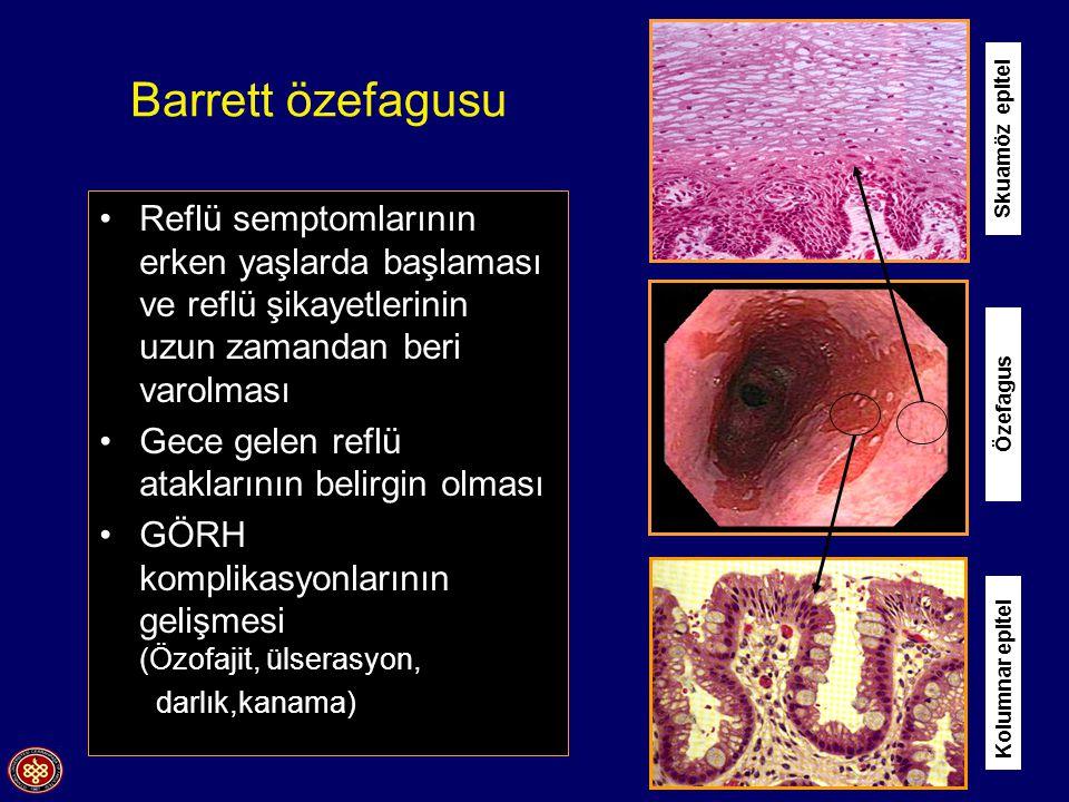 Barrett özefagusu Reflü semptomlarının erken yaşlarda başlaması ve reflü şikayetlerinin uzun zamandan beri varolması Gece gelen reflü ataklarının belirgin olması GÖRH komplikasyonlarının gelişmesi (Özofajit, ülserasyon, darlık,kanama) Kolumnar epitel Skuamöz epitel Özefagus