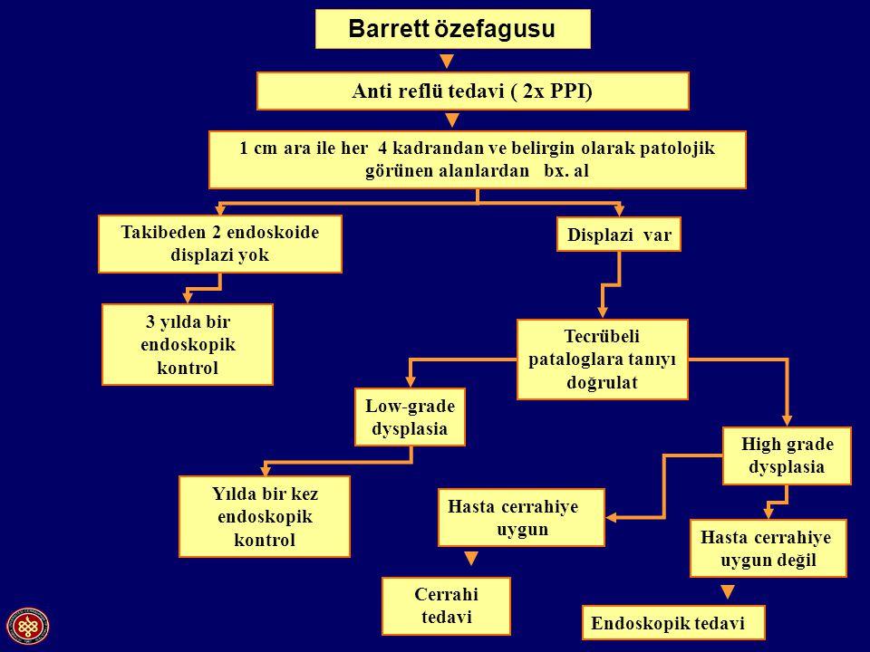 Anti reflü tedavi ( 2x PPI) 1 cm ara ile her 4 kadrandan ve belirgin olarak patolojik görünen alanlardan bx. al Takibeden 2 endoskoide displazi yok 3