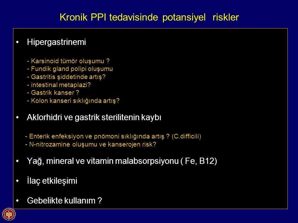Kronik PPI tedavisinde potansiyel riskler Hipergastrinemi - Karsinoid tümör oluşumu ? - Fundik gland polipi oluşumu - Gastritis şiddetinde artış? - in