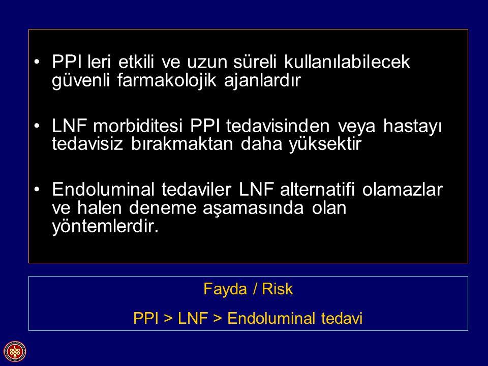 PPI leri etkili ve uzun süreli kullanılabilecek güvenli farmakolojik ajanlardır LNF morbiditesi PPI tedavisinden veya hastayı tedavisiz bırakmaktan daha yüksektir Endoluminal tedaviler LNF alternatifi olamazlar ve halen deneme aşamasında olan yöntemlerdir.