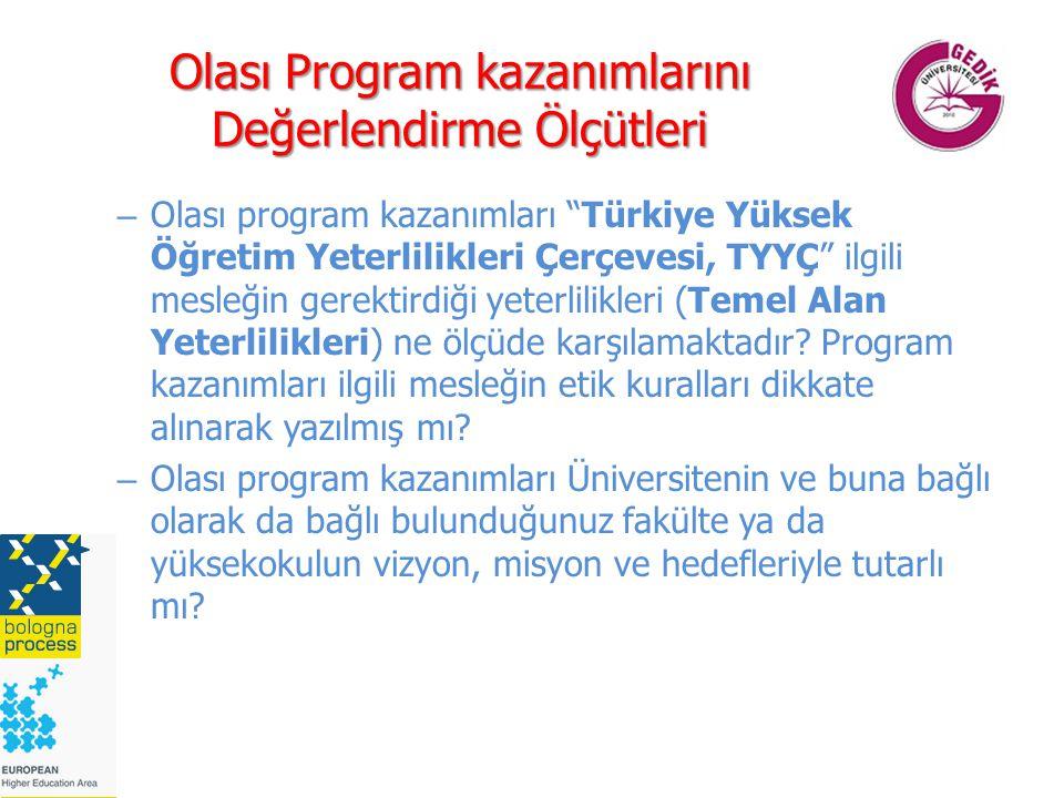 Olası Program kazanımlarını Değerlendirme Ölçütleri – Olası program kazanımları Türkiye Yüksek Öğretim Yeterlilikleri Çerçevesi, TYYÇ ilgili mesleğin gerektirdiği yeterlilikleri (Temel Alan Yeterlilikleri) ne ölçüde karşılamaktadır.