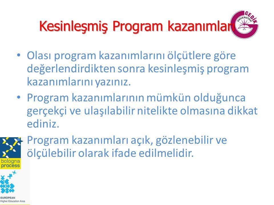 Kesinleşmiş Program kazanımları Olası program kazanımlarını ölçütlere göre değerlendirdikten sonra kesinleşmiş program kazanımlarını yazınız. Program