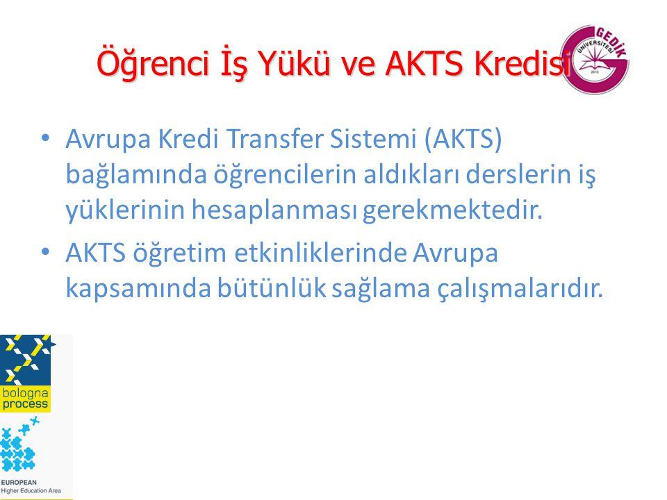 Öğrenci İş Yükü ve AKTS Kredisi Avrupa Kredi Transfer Sistemi (AKTS) bağlamında öğrencilerin aldıkları derslerin iş yüklerinin hesaplanması gerekmektedir.