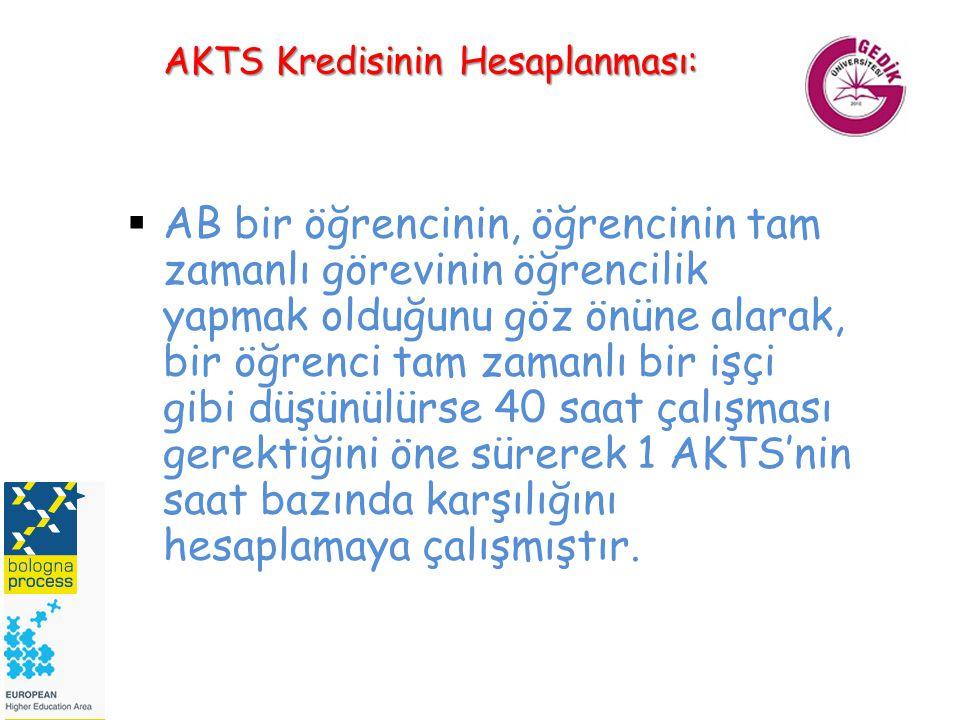 AKTS Kredisinin Hesaplanması:  AB bir öğrencinin, öğrencinin tam zamanlı görevinin öğrencilik yapmak olduğunu göz önüne alarak, bir öğrenci tam zaman
