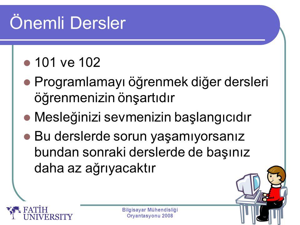 Bilgisayar Mühendisliği Oryantasyonu 2008 Önemli Dersler 101 ve 102 Programlamayı öğrenmek diğer dersleri öğrenmenizin önşartıdır Mesleğinizi sevmeniz