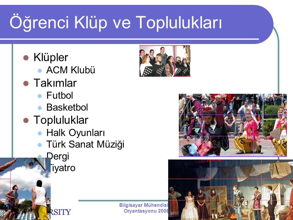 Bilgisayar Mühendisliği Oryantasyonu 2008 Öğrenci Klüp ve Toplulukları Klüpler ACM Klubü Takımlar Futbol Basketbol Topluluklar Halk Oyunları Türk Sana