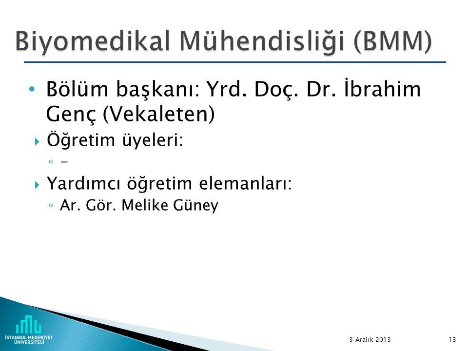Bölüm başkanı: Yrd. Doç. Dr. İbrahim Genç (Vekaleten)  Öğretim üyeleri: ◦ -  Yardımcı öğretim elemanları: ◦ Ar. Gör. Melike Güney 3 Aralık 2013 13