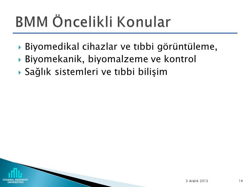  Biyomedikal cihazlar ve tıbbi görüntüleme,  Biyomekanik, biyomalzeme ve kontrol  Sağlık sistemleri ve tıbbi bilişim 3 Aralık 2013 14