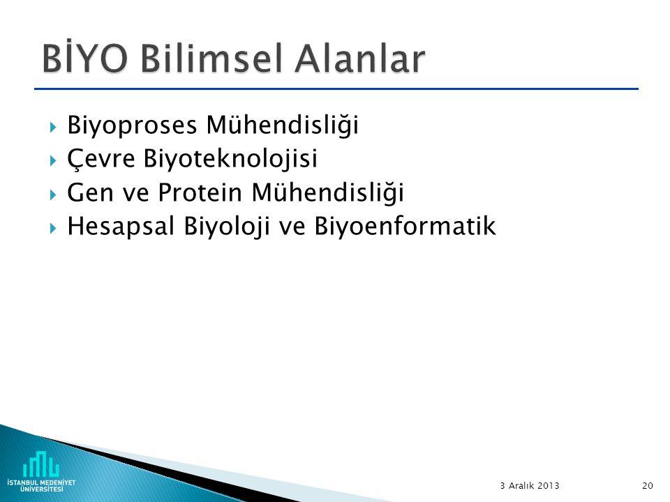  Biyoproses Mühendisliği  Çevre Biyoteknolojisi  Gen ve Protein Mühendisliği  Hesapsal Biyoloji ve Biyoenformatik 3 Aralık 2013 20