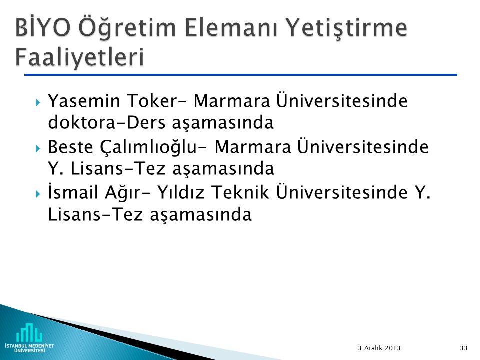  Yasemin Toker- Marmara Üniversitesinde doktora-Ders aşamasında  Beste Çalımlıoğlu- Marmara Üniversitesinde Y. Lisans-Tez aşamasında  İsmail Ağır-